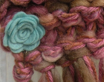 Knit scarf, women's long pink rose warm winter fashion, multicolor pink teal blue sage green beige floral wool chunky muffler i406