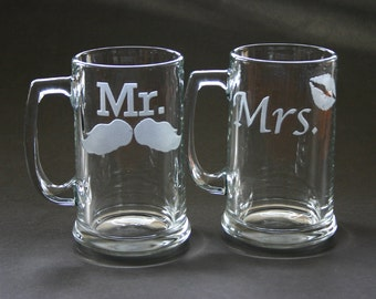 Mr Mrs His and Hers Etched Glasses Mustache Lips Engraved Beer Mugs Weddings