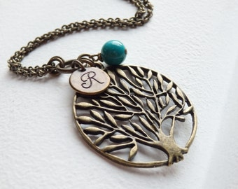 SALE - Vintage Style Tree of Life and Monogram Long Necklace