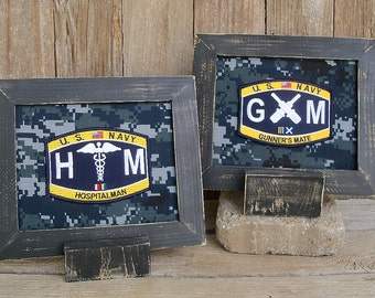 Framed U.S. Navy Rating Patches, Enlisted, Military, Custom Order, Navy Veteran, Military Gift, Military Decor, Military Retirement Gift