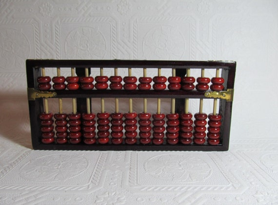 Wooden abacus chinese calculator adding machine low tech pc