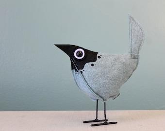 Wool Felt Pip Bird - Splash Light Blue