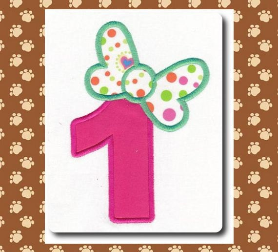 Applique Numbers with Bow Embroidery Design Includes 3 Sizes