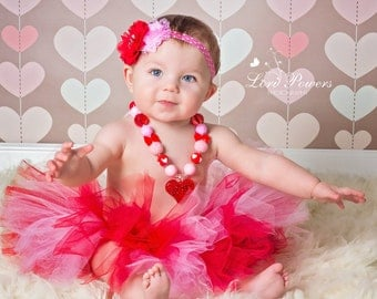 Baby tutu { Cupid } red, pink Valentine's Day tutu, wedding flower girl tutu, Birthday Tutu, Cake Smash photography prop