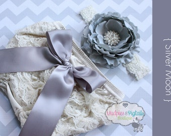 Newborn Lace bloomer set { Silver Moon } Silver Gray, Cream lace Diaper Cover Bloomer Set, flower Headband baby girl photography prop shower