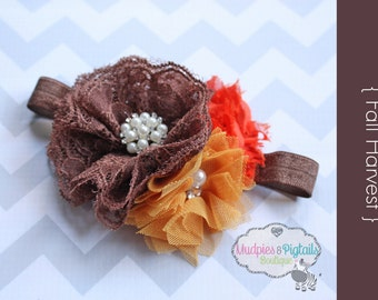 baby headband { Fall Harvest } Burnt orange, brown, mustard elastic chiffon Flower, Vintage rich fall colors, Thanksgiving photography prop