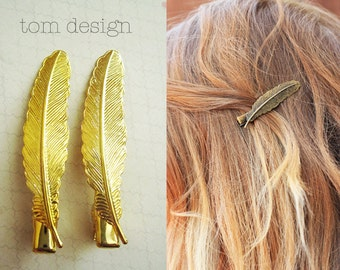 Golden Feather Hair Clips - Brass, Gold, Wedding, Bride, Bridesmaid, Barette, Hair Accessory, Gift, Bridesmaid Gift, Vintage Wedding