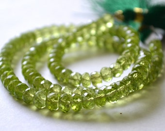 Peridot Faceted Rondelles, 5.5mm.  High Quality. Semi Prescious Gemstone. Your Choice. (7per1)
