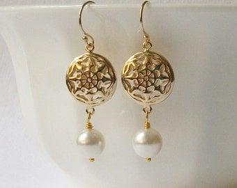 Pearl Compass Earrings Wedding Jewelry