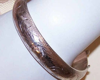 Vintage STERLING SILVER Etched Bangle Bracelet - 19.9 Grams
