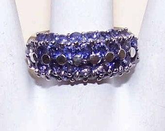 Vintage Ring,Sterling Silver.Sterling Ring,Silver Ring,Crystal,Cubic Zirconia,CZ,Crystal Ring,CZ Ring,Purple,Fashion Ring,Multistone Ring