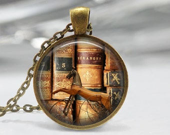 Antique Books Glass Pendant,Books Jewelry,Flower Necklace, BooksCharm,Gift For Book Librarian