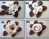 Crochet FLOWERS, 4 styles, Crochet PATTERN, leaves included, #700, video how to included, craft supplies, accessories, digital download