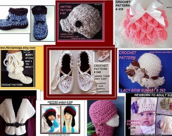 Patterns - Crochet - Knitting Patterns - handmade, hats, scarf, shrug, slippers, baby, teen, children, clothing, accessories, 1 free