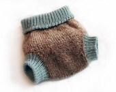 Wool Soaker Diaper Cover Medium Ombre Brown and Aqua