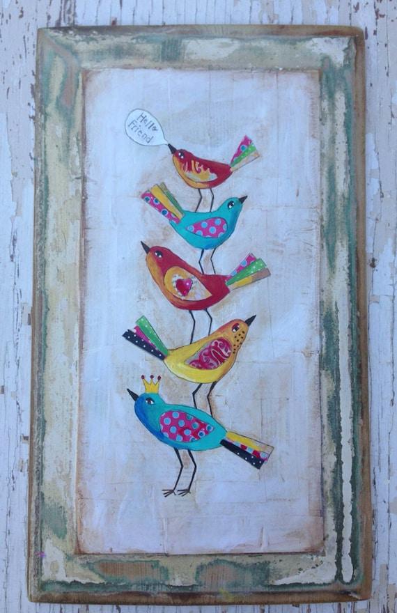 Wall Art Birds Folk Mixed Media