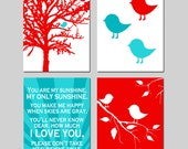 Baby Bird Nursery Art - Set of Four 11x14 Prints - You Are My Sunshine, Bird in a Tree, Baby Birds, Bird on a Branch - CHOOSE YOUR COLORS