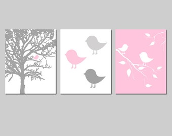 Baby Girl Nursery Art - Modern Bird Trio - Set of Three 11x14 Prints - Nursery Decor - CHOOSE YOUR COLORS - Shown in Pink, Gray, and More