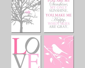 Baby Girl Nursery Art - Set of Four 11x14 Prints - Birds in a Tree, You Are My Sunshine, LOVE, Bird on a Branch - Shown in PInk and Gray