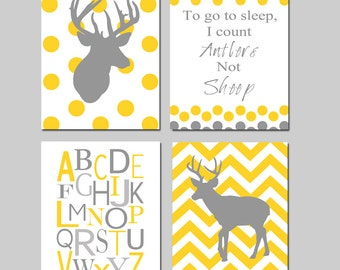 Baby Boy Nursery Art - Polka Dot Chevron Deer, To Go To Sleep I Count Antlers Not Sheep, Alphabet - Set of Four 11x14 - CHOOSE YOUR COLORS