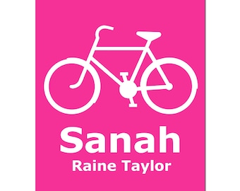 Personalized Bicycle Print - 8x10 - Kids Wall Art for Nursery - Customize With Child Name - CHOOSE YOUR COLORS