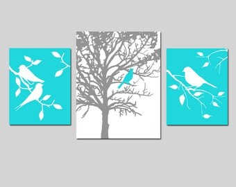 Modern Bird Nature Nursery Art Trio - Set of Three Prints - 11x14 and 8x10 - Birds on Branch - Bird in a Tree - CHOOSE YOUR COLORS