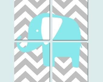 Chevron Elephant Four Piece Set Nursery Art - Set of Four 11x14 Prints - Kids Wall Art - CHOOSE YOUR COLORS