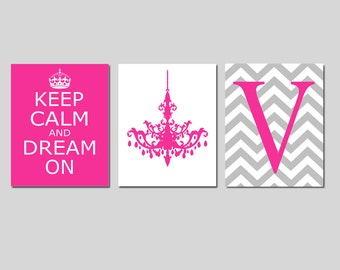 Keep Calm and Dream On, Chevron Monogram Initial, Chandelier Trio - Set of Three 8x10 Prints - CHOOSE YOUR COLORS - Teen Girl Bedroom Art
