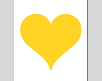 Simple Heart - 8x10 Original Print - Perfect For Modern Nursery - Kids Wall Art - CHOOSE YOUR COLORS - Shown in Yellow, Pink, and More
