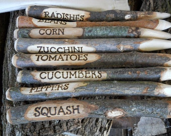8 Rustic Vegetable Garden Markers Stakes for Gardeners or Father's Day