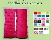 Toddler Car Seat Strap Covers - Reversible Car Seat Strap Covers - Convertible Neck & Belt Strap Covers with Velcro - You Choose Minky Color