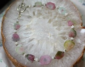 RESERVED for Lori - Natural Watermelon Tourmaline Silver Bracelet