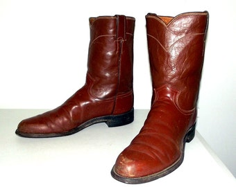 Broken In Cowboy Boots - brown -Justin brand -  size 11.5 B - narrow width