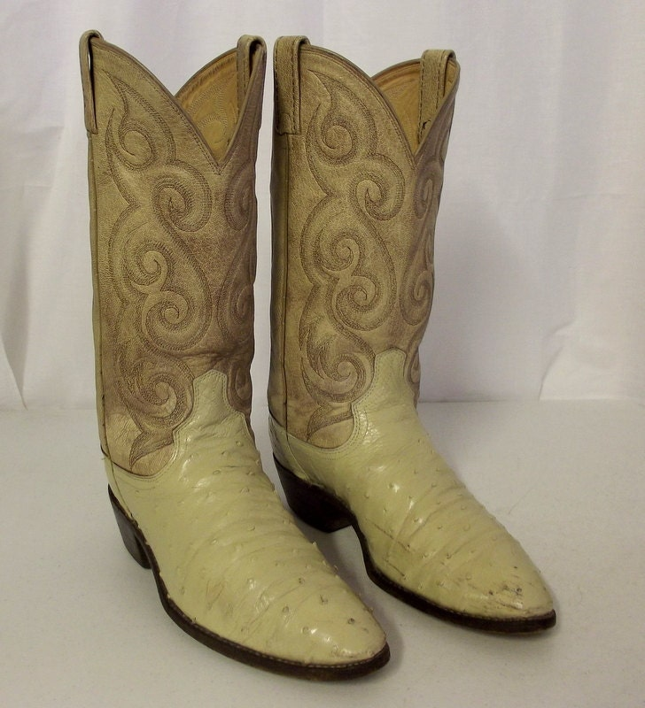 ostrich leather cowboy boots dan post brand size 9 d or