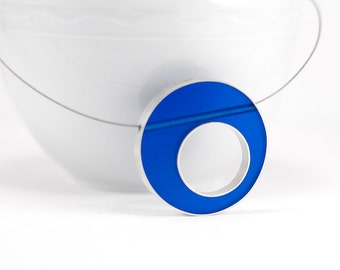 Sometimes Necklace made to order in blue resin and sterling silver on nylon coated stainless steel cobalt