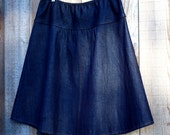 Semi Gathered A-line Denim Skirt, hip sizes 30-56 inches
