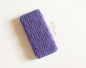 iPhone 5 iTouch 5 Case Cover Hand Knit in Wool - Original Aster Almondine Design