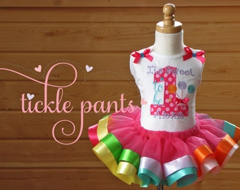Candyland Birthday Tutu Outfit- Its Sweet to be 1 (or age)- Rainbow- Includes top, tutu  - Can be made to match your party