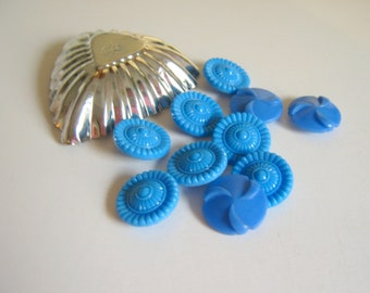 Vintage Blue Glass Buttons and Plastic Blue Buttons Sewing Supply