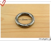 1 inch (2.5cm)  inner diameter gunmetal round spring gate ring spring ring clasp 2 pieces U125