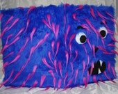 Blue & Fuchsia  Gournal with and Felt Features- Gournal Litter One (furry monster sketch book)