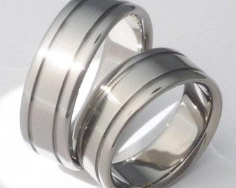 Titanium Wedding Band Set - Titanium Engagement Set - Titanium Promise Ring Set - stn5