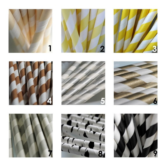 25 Striped Paper Straws for Celebrations Parties Retro Style Great Selection of 45 Colors to Pick From