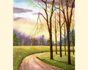 Watercolor landscape Painting PRINT country road spring flowers 4 four seasons  trees Landscape sunset  lane forest 7x10 GICLEE
