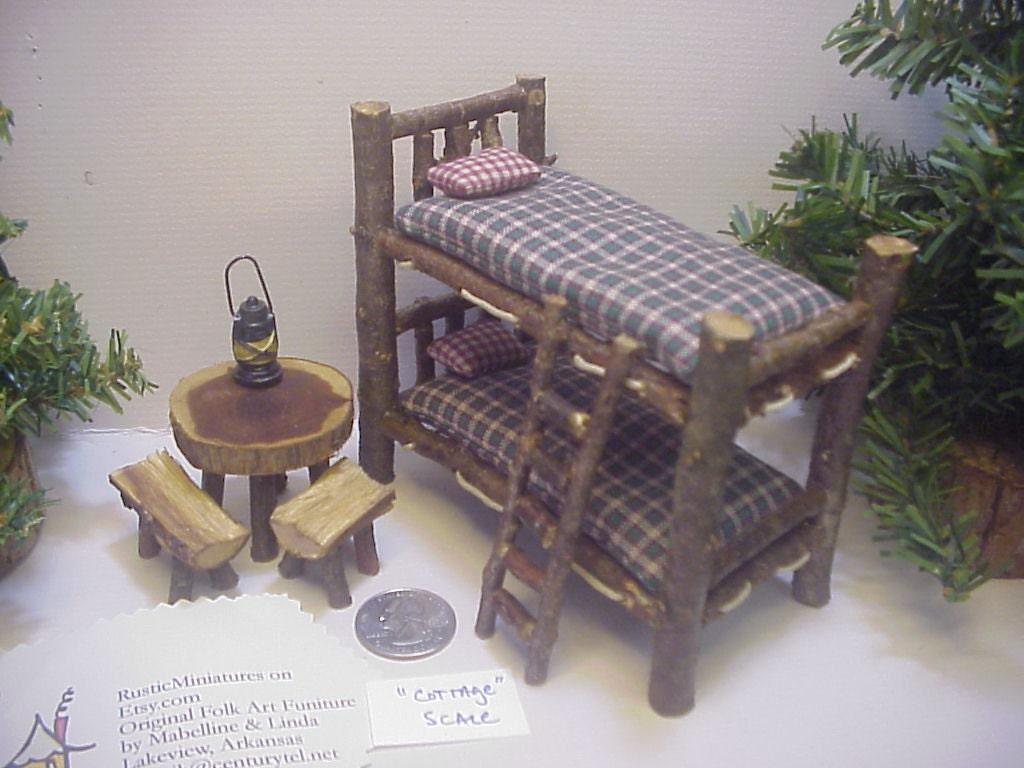 Cottage Size Bunkbeds Rustic Miniature Dollhouse Log Cabin