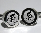 Cyclist Tour De France Silver Leaf Mens Cufflinks/Gift for men/Valentines Gift/Grooms gift