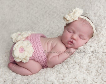 Newborn Headband and Diaper Cover SET ,Baby Headband with Crochet Flower in Off White / Pink Diaper Cover, Photography Prop