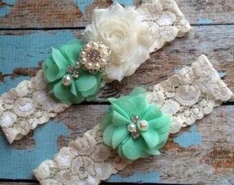 dark mint  flower  / IVORY  chiffon / wedding garter set / bridal  garter/  lace garter / toss garter included /  wedding garter