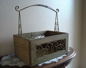 Sturdy Rustic Metal Rectangular Basket With Scrollwork Detail, Utility Basket, Decorative, Handled, Green, Shabby Chic, Large, Stylish