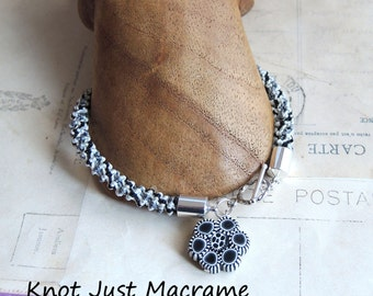 Black and White with Gray Spiral Micro Macrame Bracelet Artist Polymer Clay Bead